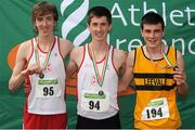 28 July 2012; Winner of the Boy's Under-16 1500m event Cian Mc Bride, North Sligo A.C., Co. Sligo, centre, with second placed William Crowe, North Sligo A.C., Co. Sligo, left, and third placed Luke Horgan, Leevale A.C., Co. Cork. Woodie's DIY Juvenile Track and Field Championships of Ireland, Tullamore Harriers Stadium, Tullamore, Co. Offaly. Picture credit: Tomas Greally / SPORTSFILE