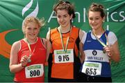 28 July 2012; Winner of the Girl's Under-16 Shot Putt event Dearbhaile Ryan, Nenagh Olympic A.C., Co. Tipperary, centre, with second placed Ann Marie Tornsey, Fingallians A.C., Co. Dublin, left, and third placed Jade Leeper, Finn Valley A.C., Co. Donegal. Woodie's DIY Juvenile Track and Field Championships of Ireland, Tullamore Harriers Stadium, Tullamore, Co. Offaly. Picture credit: Tomas Greally / SPORTSFILE