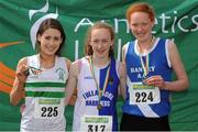 28 July 2012; Winner of the Girl's Under-17 1500m event Eileen Rafter, Tullamore Harriers A.C., Co. Offaly, centre, with second placed Orlaith Moynihan, Clonmel A.C., Co. Tipperary, left, and third placed Niamh Cotter, Bantry A.C., Co. Cork. Woodie's DIY Juvenile Track and Field Championships of Ireland, Tullamore Harriers Stadium, Tullamore, Co. Offaly. Picture credit: Tomas Greally / SPORTSFILE