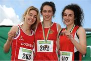 28 July 2012; Winner of the Girl's Under-18 1500m event Niamh Margaret Markh, Ennis Track A.C., Co. Clare, centre, with second placed Jessica Coyne, Dooneen A.C., Co. Limerick, left, and third placed Amy Jackson, City of Derry A.C., Co. Derry. Woodie's DIY Juvenile Track and Field Championships of Ireland, Tullamore Harriers Stadium, Tullamore, Co. Offaly. Picture credit: Tomas Greally / SPORTSFILE