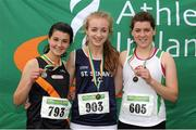 28 July 2012; Winner of the Girl's Under-19 1500m event Bronagh Kearns, St. Senans A.C., Co. Kilkenny, centre, with second placed Roisin Leahy, Clonliffe Harriers A.C., Co. Dublin, left, and third placed Emily Milner, St. Coca's A.C., Co. Kildare. Woodie's DIY Juvenile Track and Field Championships of Ireland, Tullamore Harriers Stadium, Tullamore, Co. Offaly. Picture credit: Tomas Greally / SPORTSFILE