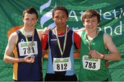 28 July 2012; Winner of the Boy's Under-16 Triple Jump event Darren Prout, Carrick-on-Suir A.C., Co. Tipperary, centre, with second placed Mikey Cullen, St. Killians A.C., Co. Wexford, left, and third placed Shane Joyce, Cushinstown A.C., Co. Meath. Woodie's DIY Juvenile Track and Field Championships of Ireland, Tullamore Harriers Stadium, Tullamore, Co. Offaly. Picture credit: Tomas Greally / SPORTSFILE