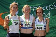 28 July 2012; Winner of the Girl's Under-18 Long Jump event Sarah Mc Carthy, Mid Sutton A.C., Co. Dublin, centre, with second placed Marie Heelan, Emerald A.C., Co. Limerick, left, and third placed Vivian Fleisher, Celbridge A.C., Co. Kildare. Woodie's DIY Juvenile Track and Field Championships of Ireland, Tullamore Harriers Stadium, Tullamore, Co. Offaly. Picture credit: Tomas Greally / SPORTSFILE