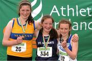 28 July 2012; Winner of the Girl's Under-14 2,000m Walk event Isabel Morgan, St. Senans A.C., Co. Kilkenny, centre, with second placed Angharad Loughnane, Marian A.C., Co. Clare, left, and third placed Grace Maguire, Claremorris A.C., Co. Mayo. Woodie's DIY Juvenile Track and Field Championships of Ireland, Tullamore Harriers Stadium, Tullamore, Co. Offaly. Picture credit: Tomas Greally / SPORTSFILE