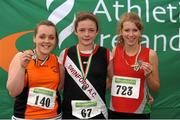 28 July 2012; Winner of the Girl's Under-15 Javelin event Michaela Walsh, Swinford A.C., Co. Mayo, centre, with second placed Jade Fahy, Nenagh Olympic A.C., Co. Tipperary, left, and third placed Sarah Woods, City of Lisburn, Co. Antrim. Woodie's DIY Juvenile Track and Field Championships of Ireland, Tullamore Harriers Stadium, Tullamore, Co. Offaly. Picture credit: Tomas Greally / SPORTSFILE