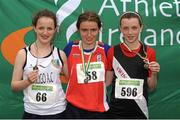 28 July 2012; Winner of the Girl's Under-15 2,000m Walk event Dervla Berirne, Mohill A.C., Co. Leitrim, centre, with second placed Orlaith Delahunt, Sligo A.C., Co. Sligo, left, and third placed Anna Tierney, Swinford A.C., Co. Mayo. Woodie's DIY Juvenile Track and Field Championships of Ireland, Tullamore Harriers Stadium, Tullamore, Co. Offaly. Picture credit: Tomas Greally / SPORTSFILE