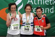 28 July 2012; Winner of the Girl's Under-16 2,000m Walk event Sinead O'Connor, Celbridge A.C., Co. Kildare, centre, with second placed Karen Bourke, St. Coca's A.C., Co. Kildare, and third placed Aisling Mc Nabola, Mohill A.C., Co. Leitrim. Woodie's DIY Juvenile Track and Field Championships of Ireland, Tullamore Harriers Stadium, Tullamore, Co. Offaly. Picture credit: Tomas Greally / SPORTSFILE