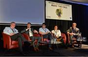 7 October 2017; Speakers, from left, Dr. Pat O'Neill, Consultant in Orthopedic and Sports Medicine & former All Ireland winning Dublin Footballer and Manager, Oisín McConville, Former All Ireland winning Armagh Senior Footballer, Dr. Brendan Murphy, Former Offaly Senior Hurler, Current Tipperary Hurling Team Doctor, Dr. Niamh Lynch, Consultant Paediatrician, Bon Secours Hospital Cork, and Dr. Michael 'Micky' Collins, PHD, Executive Director, UPMC Sports Medicine Concussion Program, at the National Concussion Symposium at Croke Park in Dublin. Photo by Piaras Ó Mídheach/Sportsfile