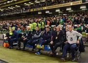 6 October 2017; Republic of Ireland manager Martin O'Neill, right, takes his seat prior to the FIFA World Cup Qualifier Group D match between Republic of Ireland and Moldova at Aviva Stadium in Dublin. Photo by Stephen McCarthy/Sportsfile