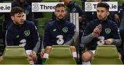 6 October 2017; Republic of Ireland players, from left, Scott Hogan, Conor Hourihane and Sean Maguire during the FIFA World Cup Qualifier Group D match between Republic of Ireland and Moldova at Aviva Stadium in Dublin. Photo by Stephen McCarthy/Sportsfile