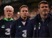 6 October 2017; Republic of Ireland assistant coach Steve Guppy, centre, with Republic of Ireland goalkeeping coach Seamus McDonagh, left, and Republic of Ireland assistant manager Roy Keane during the FIFA World Cup Qualifier Group D match between Republic of Ireland and Moldova at Aviva Stadium in Dublin. Photo by Stephen McCarthy/Sportsfile