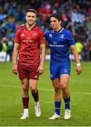 7 October 2017; Conor Murray of Munster, left, and Joey Carbery of Leinster leave the pitch together after the Guinness PRO14 Round 6 match between Leinster and Munster at the Aviva Stadium in Dublin. Photo by Brendan Moran/Sportsfile