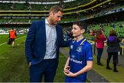 7 October 2017; Matchday mascot Ross Ralph, from Kildare town, with Leinster's Jamie Heaslip ahead of the PRO14 Round 6 match between Leinster and Munster at the Aviva Stadium in Dublin. Photo by Ramsey Cardy/Sportsfile