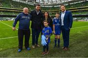 7 October 2017; Matchday mascot Ross Ralph, from Kildare town, with Leinster's Jamie Heaslip and Mick Kearney ahead of the PRO14 Round 6 match between Leinster and Munster at the Aviva Stadium in Dublin. Photo by Ramsey Cardy/Sportsfile