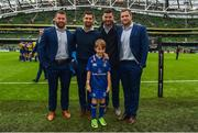7 October 2017; Matchday mascot Rory Nulty, from Ballyroan, Co. Laois, with Leinster's Sean O'Brien, Rob Kearney, Mick Kearney and Jamie Heaslip ahead of the PRO14 Round 6 match between Leinster and Munster at the Aviva Stadium in Dublin. Photo by Ramsey Cardy/Sportsfile