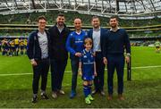 7 October 2017; Matchday mascots Rory Nulty, from Ballyroan, Co. Laois, with Leinster's Jamie Heaslip, Rob Kearney and Mick Kearney ahead of the PRO14 Round 6 match between Leinster and Munster at the Aviva Stadium in Dublin. Photo by Ramsey Cardy/Sportsfile