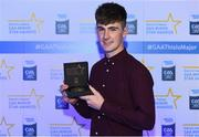 7th October 2017; Electric Ireland present Galway's Darach Fahy with his 2017 Electric Ireland GAA Minor Star Award as voted for by a panel of GAA legends which includes Oisin McConville, Andy McEntee, Donal Og Cusack and Mattie Kenny. Sponsor to the GAA Minor Championships, Electric Ireland today honoured 15 minor players from, football and 15 players from hurling at the inaugural annual Electric Ireland Minor Star Awards in Croke Park #GAAThisIsMajor. Photo by Eóin Noonan/Sportsfile