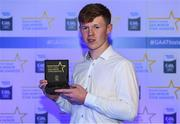 7th October 2017; Electric Ireland present Cork's James Keating with his 2017 Electric Ireland GAA Minor Star Award as voted for by a panel of GAA legends which includes Oisin McConville, Andy McEntee, Donal Og Cusack and Mattie Kenny. Sponsor to the GAA Minor Championships, Electric Ireland today honoured 15 minor players from, football and 15 players from hurling at the inaugural annual Electric Ireland Minor Star Awards in Croke Park #GAAThisIsMajor. Photo by Eóin Noonan/Sportsfile