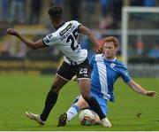 7 October 2017; Carlton Ubaezuonu of Dundalk in action against Sean Houston of Finn Harps during the SSE Airtricity League Premier Division match between Finn Harps and Dundalk at Finn Park in Ballybofey, Co Donegal. Photo by Oliver McVeigh/Sportsfile