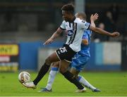 7 October 2017; Carlton Ubaezuonu of Dundalk in action against Ethan Boyle of Finn Harps during the SSE Airtricity League Premier Division match between Finn Harps and Dundalk at Finn Park in Ballybofey, Co Donegal. Photo by Oliver McVeigh/Sportsfile