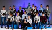 7 October 2017; Electric Ireland present the Minor Hurling Team of the Year, backrow from left, Brian Roche of Cork, Sean Currie of Dublin, Lee Gannon of Dublin, Caimin Killeen of Galway, Sean Bleahane of Galway, Aidan McCarthy of Clare, Darren Morrissey of Galway, Sean O'Leary Hayes of Cork, Conor Fahey of Galway, and front row from left, Jack Canning of Galway, James Keating of Cork, Brian Turnbull of Cork, Daire Connery of Cork, Darach Fahy of Galway, with their 2017 Electric Ireland GAA Minor Star Awards as voted for by a panel of GAA legends which includes Oisin McConville, Andy McEntee, Donal Og Cusack and Mattie Kenny. Adrian Mullen of Kilkenny was also given an award, but was unable to attend the event. Sponsor to the GAA Minor Championships, Electric Ireland today honoured 15 minor players from football and 15 players from hurling at the inaugural annual Electric Ireland Minor Star Awards in Croke Park #GAAThisIsMajor. Photo by Sam Barnes/Sportsfile