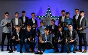 7 October 2017; Electric Ireland present the Minor Football Team of the Year, back row from left, Ross McGarry of Dublin, Barry Mahony of Kerry, Donal O'Sullivan of Kerry, Conor McCluskey of Derry,  Fiachra Clifford of Kerry, Peadar Ó Cofaigh Byrne of Dublin, Niall Donohue of Kerry, Oisin Pierson of Cavan, Oisin McWilliams of Derry, Cian Gammell of Kerry, and front row from left, Lorcan McWilliams of Derry, Deividas Uosis of Kerry, David Clifford of Kerry, Michael Potts of Kerry and Padraig McGrogan of Derry, with their 2017 Electric Ireland GAA Minor Star Awards as voted for by a panel of GAA legends which includes Oisin McConville, Andy McEntee, Donal Og Cusack and Mattie Kenny. Sponsor to the GAA Minor Championships, Electric Ireland today honoured 15 minor players from, football and 15 players from hurling at the inaugural annual Electric Ireland Minor Star Awards in Croke Park #GAAThisIsMajor.  Photo by Sam Barnes/Sportsfile