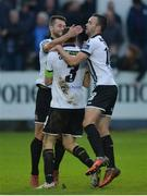 7 October 2017; Brian Gartland of Dundalk celebrates with Thomas Stewart and Robbie Benson afer scoring the first goal during the SSE Airtricity League Premier Division match between Finn Harps and Dundalk at Finn Park in Ballybofey, Co Donegal. Photo by Oliver McVeigh/Sportsfile
