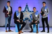 7 October 2017; Electric Ireland present the Dublin representatives of the Minor Hurling and Football Teams of the Year, from left, Lee Gannon, hurling, Peadar Ó Cofaigh Byrne, football, Ross McGarry, football, and Sean Currie, hurling, with their 2017 Electric Ireland GAA Minor Star Awards as voted for by a panel of GAA legends which includes Oisin McConville, Andy McEntee, Donal Og Cusack and Mattie Kenny. Sponsor to the GAA Minor Championships, Electric Ireland today honoured 15 minor players from, football and 15 players from hurling at the inaugural annual Electric Ireland Minor Star Awards in Croke Park #GAAThisIsMajor   Photo by Sam Barnes/Sportsfile