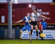 7 October 2017; Michael Duffy of Dundalk in action against Gareth Harkin of Finn Harps during the SSE Airtricity League Premier Division match between Finn Harps and Dundalk at Finn Park in Ballybofey, Co Donegal. Photo by Oliver McVeigh/Sportsfile