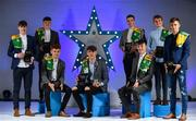 7 October 2017; Electric Ireland present the Kerry representatives of the Minor Football Teams of the Year, from left, Donal O'Sullivan, Michael Potts, Niall Donohue, David Clifford, Barry Mahony, Cian Gammell, Fiachra Clifford, and Deividas Uosis, with their 2017 Electric Ireland GAA Minor Star Awards as voted for by a panel of GAA legends which includes Oisin McConville, Andy McEntee, Donal Og Cusack and Mattie Kenny. Sponsor to the GAA Minor Championships, Electric Ireland today honoured 15 minor players from, football and 15 players from hurling at the inaugural annual Electric Ireland Minor Star Awards in Croke Park #GAAThisIsMajor Photo by Sam Barnes/Sportsfile