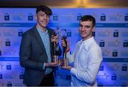 7 October 2017; Electric Ireland present Kerry's David Clifford, left, with the 2017 Electric Ireland Footballer of the Year award and Cork's Brian Turnbull 2017 Electric Ireland hurler of the year as voted for by a panel of GAA legends which includes Oisin McConville, Andy McEntee, Donal Og Cusack and Mattie Kenny. Sponsor to the GAA Minor Championships, Electric Ireland today honoured 15 minor players from, football and 15 players from hurling at the inaugural annual Electric Ireland Minor Star Awards in Croke Park #GAAThisIsMajor. Photo by Eóin Noonan/Sportsfile