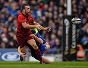 7 October 2017; JJ Hanrahan of Munster is tackled by Adam Byrne of Leinster after the Guinness PRO14 Round 6 match between Leinster and Munster at the Aviva Stadium in Dublin. Photo by Brendan Moran/Sportsfile