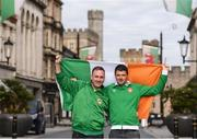 8 October 2017; Republic of Ireland supporters Philip Keown, from Ballyhornan, Co Down, left, and Michael Lenihan, from Killarney, Co Kerry, in Cardiff City ahead of their side's FIFA World Cup Qualifier against Wales on Monday. Photo by Stephen McCarthy/Sportsfile