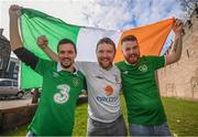 8 October 2017; Republic of Ireland supporters, from left, Craig Connolly, from Tallaght, Dublin, Damien Carr, from Kilcar, Donegal, and Jamie Gilbert, from Tallaght, Dublin, in Cardiff City ahead of their side's FIFA World Cup Qualifier against Wales on Monday. Photo by Stephen McCarthy/Sportsfile