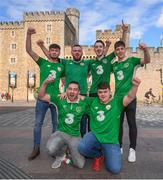 8 October 2017; Republic of Ireland supporters, from Navan, Co. Meath, Stephen Murphy, left, and Adam Blake, right, with, back row, from left, Ryan Murphy, Conor Murphy, Tom Duignan and Danny Goggett in Cardiff City ahead of their side's FIFA World Cup Qualifier against Wales on Monday. Photo by Stephen McCarthy/Sportsfile