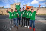 8 October 2017; Republic of Ireland supporters, from Navan, Co. Meath, from left, Stephen Murphy, Ryan Murphy, Conor Murphy, Tom Duignan, Danny Goggett and Adam Blake in Cardiff City ahead of their side's FIFA World Cup Qualifier against Wales on Monday. Photo by Stephen McCarthy/Sportsfile