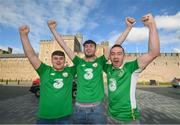 8 October 2017; Republic of Ireland supporters, from Navan, Co. Meath, Adam Blake, left, Ryan Murphy and Stephen Murphy, right, in Cardiff City ahead of their side's FIFA World Cup Qualifier against Wales on Monday. Photo by Stephen McCarthy/Sportsfile