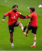 8 October 2017; Ashley Williams, left, and Joe Allen of Wales during squad training at Cardiff City Stadium in Cardiff, Wales. Photo by Stephen McCarthy/Sportsfile