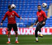 8 October 2017; Hal Robson-Kanu, right, and Joe Allen of Wales during squad training at Cardiff City Stadium in Cardiff, Wales. Photo by Stephen McCarthy/Sportsfile