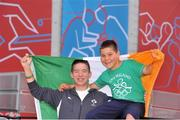 1 August 2012; Max Feehan, left, age 13, and his brother Deema, age 10, from Ferbane, Co. Offaly, at the ExCeL Arena, ahead of John Joe Nevin's men's bantamweight 56kg round of 32 contest bout against Kanat Abutalipov, Kazakhstan. London 2012 Olympic Games, Boxing, South Arena 2, ExCeL Arena, Royal Victoria Dock, London, England. Picture credit: David Maher / SPORTSFILE