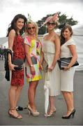 2 August 2012; Enjoying their day at the races, from left to right, are Bridget Flanning, from Foynes, Co. Limerick, Saundra Hennessey, from Ardmore, Co. Waterford, Marie Callinane, from Turloughmore, Co. Galway, and Lisa Hennessy from Ardmore, Co. Waterford. Galway Racing Festival 2012, Ballybrit, Galway. Picture credit: Barry Cregg / SPORTSFILE