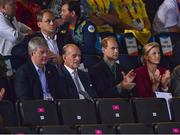 2 August 2012; The Duke of Edinburgh Prince Philip, second from left, alongside the Earl of Wessex Prince Edward, left, watch Anthony Ogogo, Great Britain, during his men's middle 75kg round of 16 contest against Levgen Khytrov, Ukraine. London 2012 Olympic Games, Boxing, South Arena 2, ExCeL Arena, Royal Victoria Dock, London, England. Picture credit: David Maher / SPORTSFILE