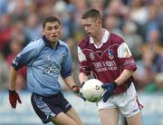 6 October 2002; Clive Monaghan, Galway in action against Alan Brogan, Dublin v Galway, All Ireland Under 21 Football Final, O'Moore Park Portlaoise, Co. Laois. Picture credit; Damien Eagers / SPORTSFILE *EDI*