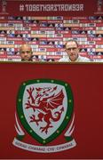 8 October 2017; Republic of Ireland manager Martin O'Neill, right, with goalkeeper Darren Randolph during a press conference at Cardiff City Stadium in Cardiff, Wales. Photo by Stephen McCarthy/Sportsfile