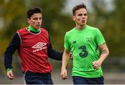 8 October 2017; Liam Kinsella, right, of Republic of Ireland U21 with team mate Connor Di Maio during squad training at Tallaght Stadium in Dublin. Photo by David Fitzgerald/Sportsfile