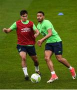 8 October 2017; Josh Cullen, left, and Jake Mulraney of Republic of Ireland U21 during squad training at Tallaght Stadium in Dublin. Photo by David Fitzgerald/Sportsfile