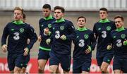 8 October 2017; Ryan Manning, centre, of Republic of Ireland U21 during squad training at Tallaght Stadium in Dublin. Photo by David Fitzgerald/Sportsfile