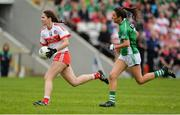8 October 2017; Megan Devine of Derry in action against Aisling Maguire of Fermanagh during the TG4 Ladies Football All-Ireland Junior Championship Final Replay between Derry and Fermanagh at St Tiernach's Park in Clones, Co Monaghan. Photo by Oliver McVeigh/Sportsfile