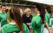 8 October 2017; Uachtaran LGFA Marie Hickey meeting the Fermanagh players before the TG4 Ladies Football All-Ireland Junior Championship Final Replay between Derry and Fermanagh at St Tiernach's Park in Clones, Co Monaghan. Photo by Oliver McVeigh/Sportsfile