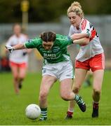 8 October 2017; Kayligh Magee of Fermanagh in action against Aoife McGough of Derry during the TG4 Ladies Football All-Ireland Junior Championship Final Replay between Derry and Fermanagh at St Tiernach's Park in Clones, Co Monaghan. Photo by Oliver McVeigh/Sportsfile